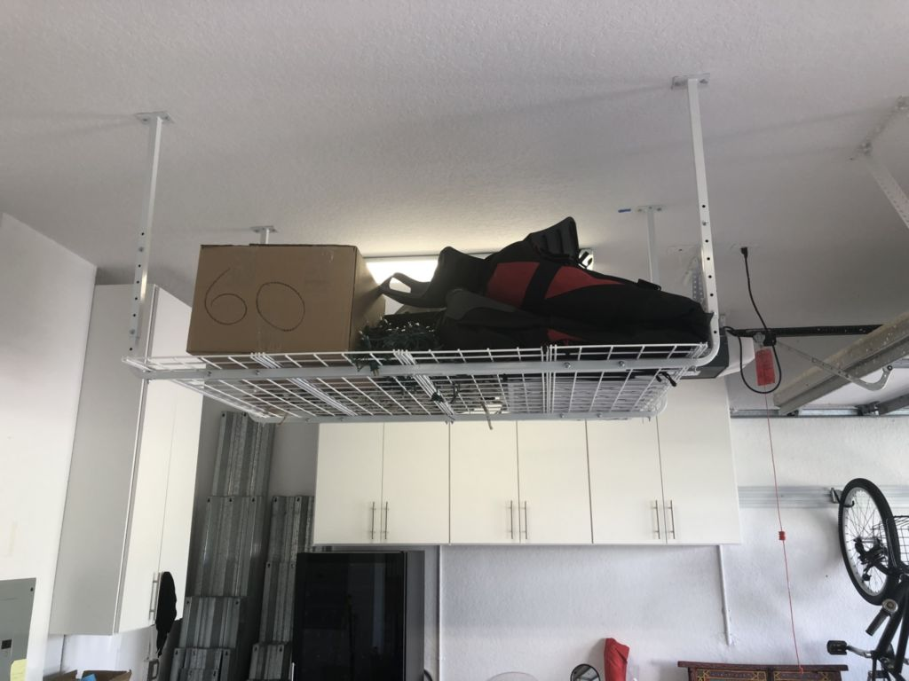 floating shelf from garage ceiling